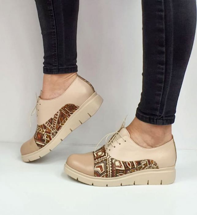 Pantofi Casual Piele Naturala Nude Brenda D02662 9