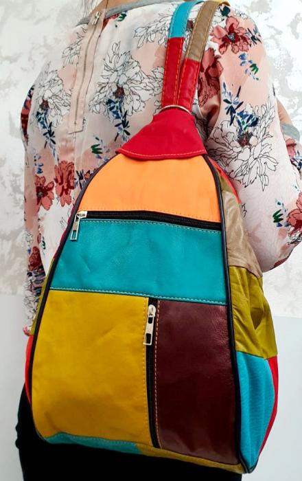 Rucsac Dama Piele Naturala Multicolor Seana G00680 6