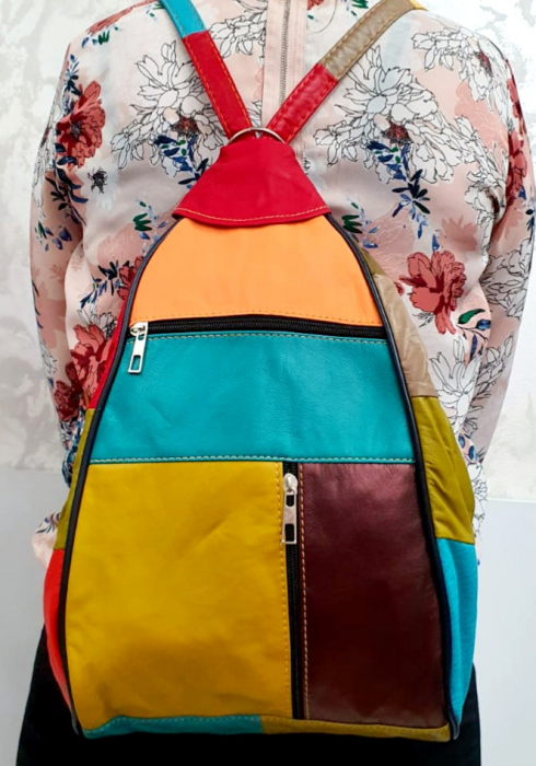 Rucsac Dama Piele Naturala Multicolor Seana G00680 5