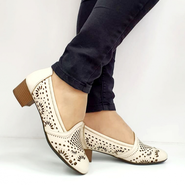 Pantofi cu toc Piele Naturala Bej Rosalia D02700 0