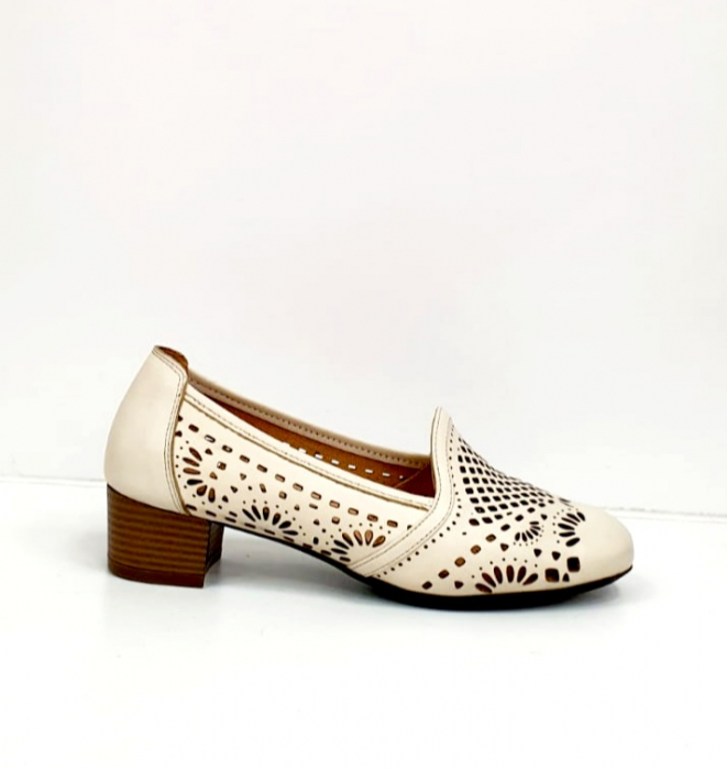 Pantofi cu toc Piele Naturala Bej Rosalia D02700 1