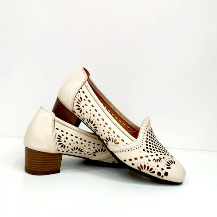 Pantofi cu toc Piele Naturala Bej Rosalia D02700 2