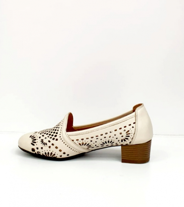 Pantofi cu toc Piele Naturala Bej Rosalia D02700 4