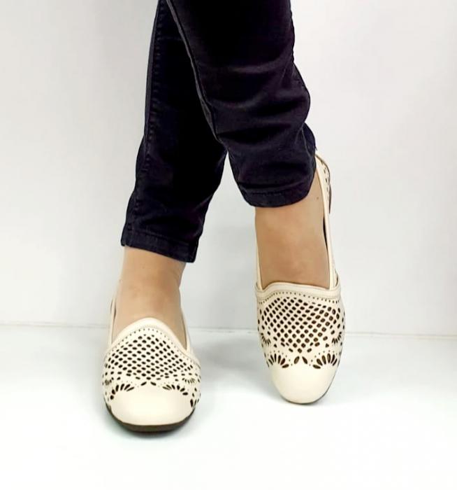 Pantofi cu toc Piele Naturala Bej Rosalia D02700 6