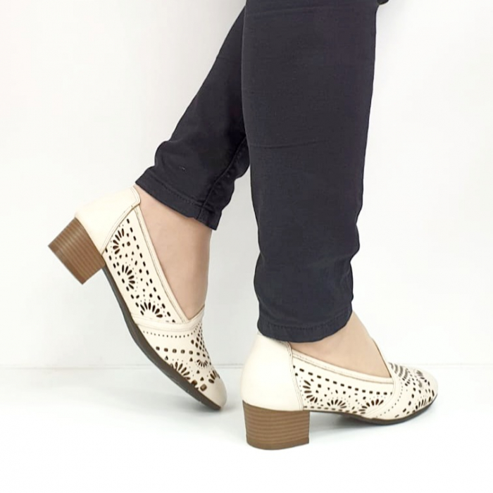 Pantofi cu toc Piele Naturala Bej Rosalia D02700 7