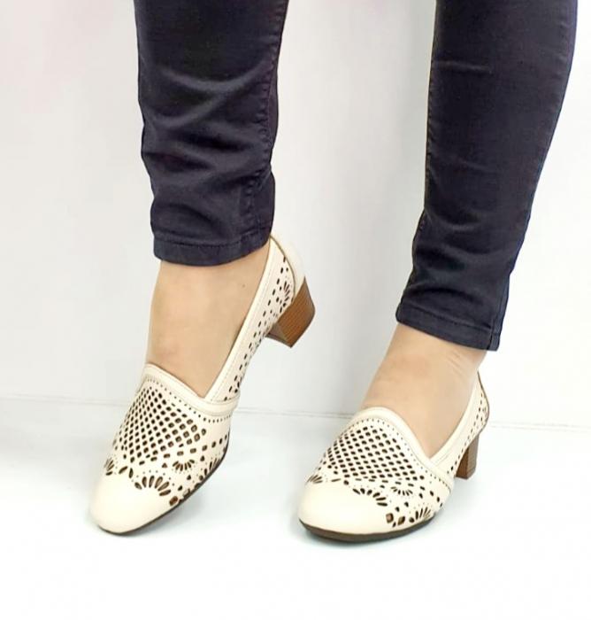 Pantofi cu toc Piele Naturala Bej Rosalia D02700 8
