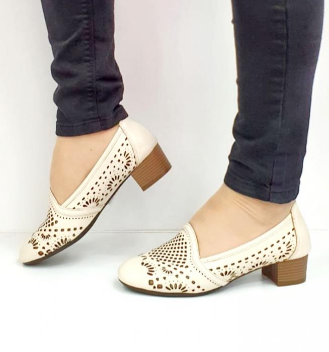 Pantofi cu toc Piele Naturala Bej Rosalia D02700 9