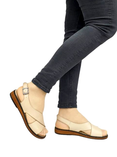 Sandale Dama Piele Naturala Bej Orama D02714 0