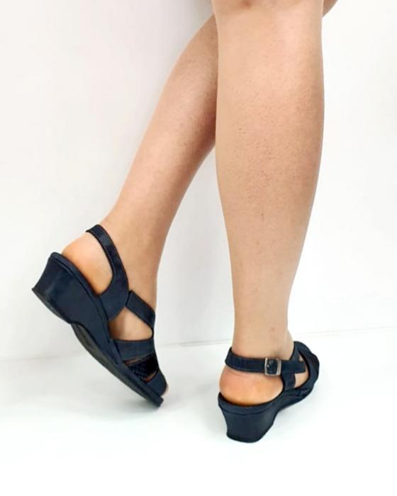 Sandale Dama Piele Naturala Suave Bleumarin Damaris D02719 [4]