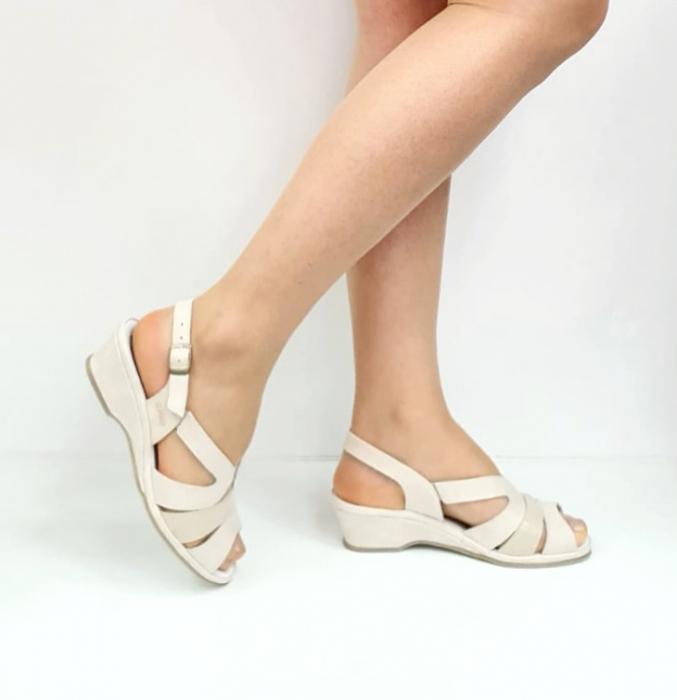 Sandale Dama Piele Naturala Suave Bej Damaris D02720 [0]