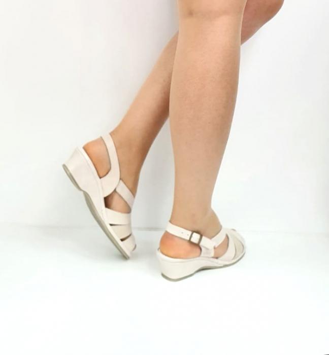 Sandale Dama Piele Naturala Suave Bej Damaris D02720 [3]