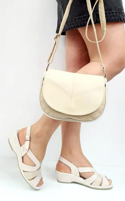 Sandale Dama Piele Naturala Suave Bej Damaris D02720 [4]