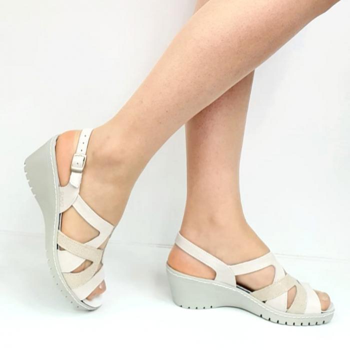 Sandale Dama Piele Naturala Suave Bej Niculina D02721 [0]