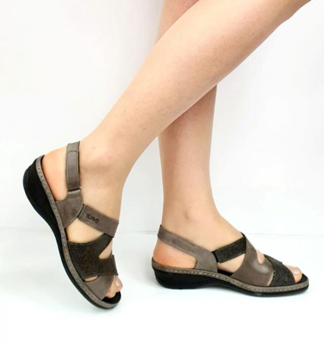 Sandale Dama Piele Naturala Suave Gri Eden D02722 [0]