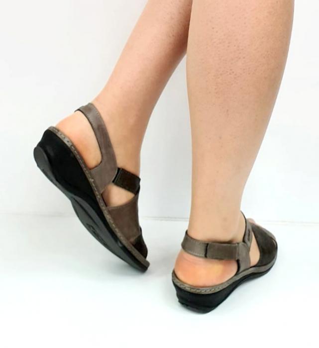 Sandale Dama Piele Naturala Suave Gri Eden D02722 [4]