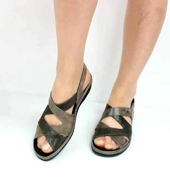 Sandale Dama Piele Naturala Suave Gri Eden D02722 [3]