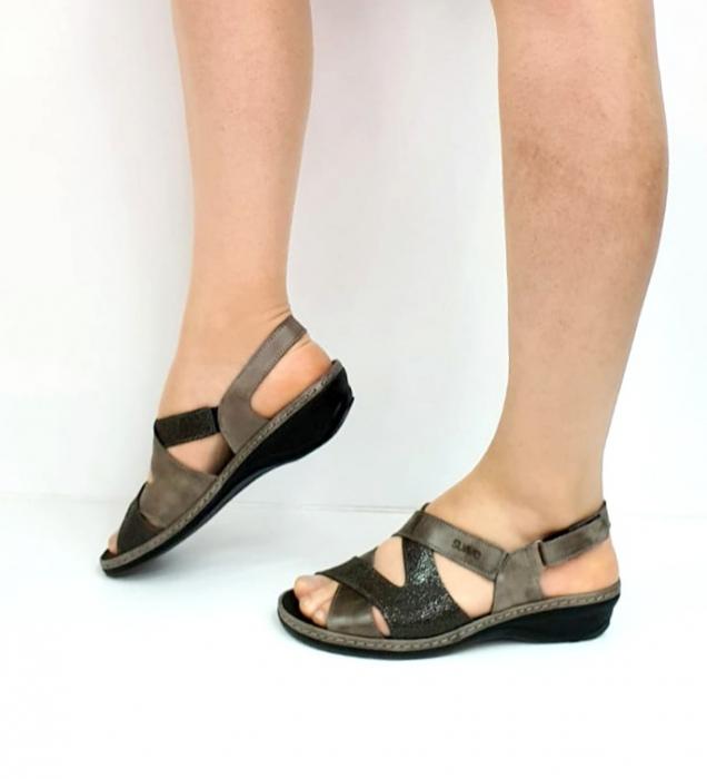 Sandale Dama Piele Naturala Suave Gri Eden D02722 [1]