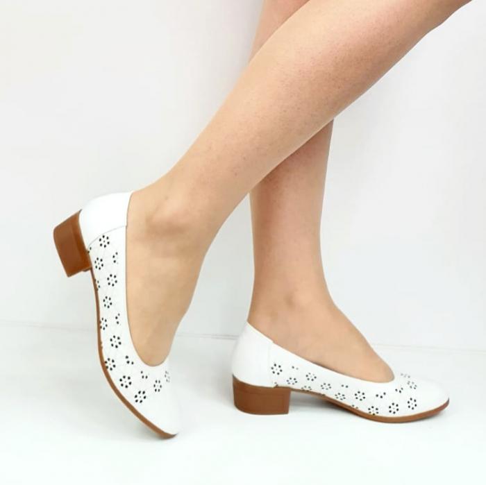 Pantofi cu toc Piele Naturala Mya Albi D02724 [0]