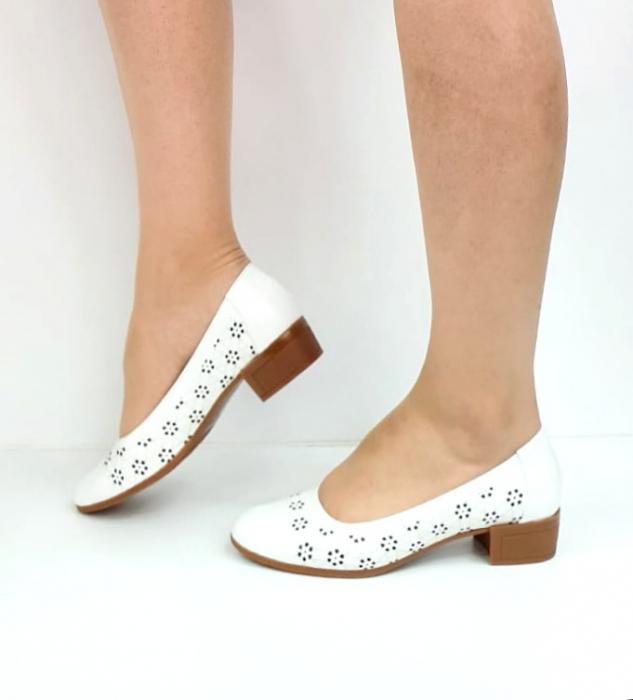 Pantofi cu toc Piele Naturala Mya Albi D02724 [1]