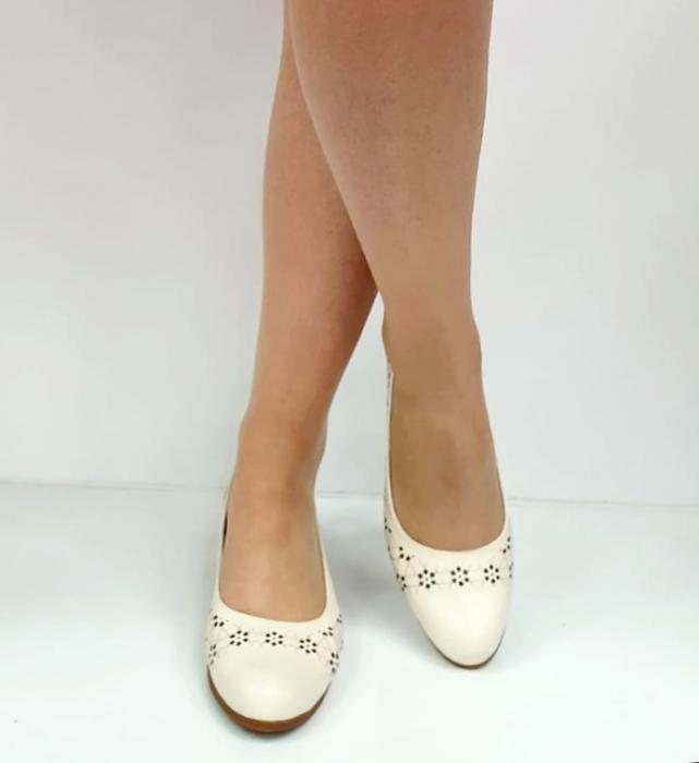 Pantofi cu toc Piele Naturala Crem Mya D02725 [2]