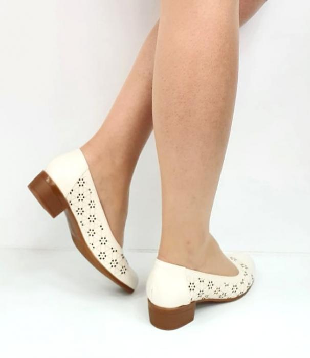 Pantofi cu toc Piele Naturala Crem Mya D02725 [4]