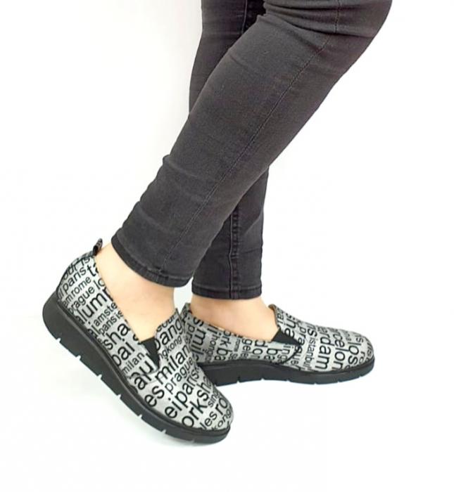 Pantofi Casual Piele Naturala Argintii Deborah D02726 [0]