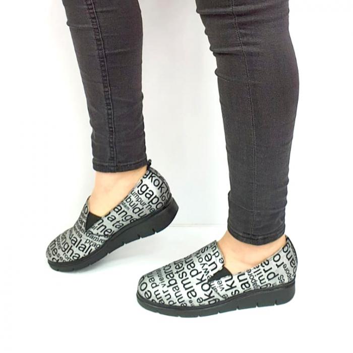 Pantofi Casual Piele Naturala Argintii Deborah D02726 [1]