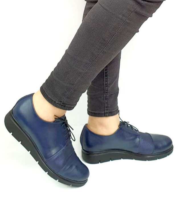 Pantofi Casual Piele Naturala Bleumarin Albertine D02731 [0]