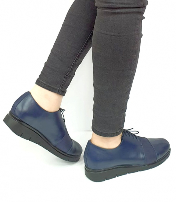 Pantofi Casual Piele Naturala Bleumarin Albertine D02731 [3]