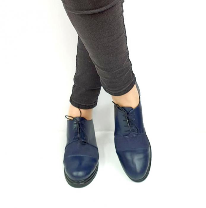 Pantofi Casual Piele Naturala Bleumarin Albertine D02731 [2]