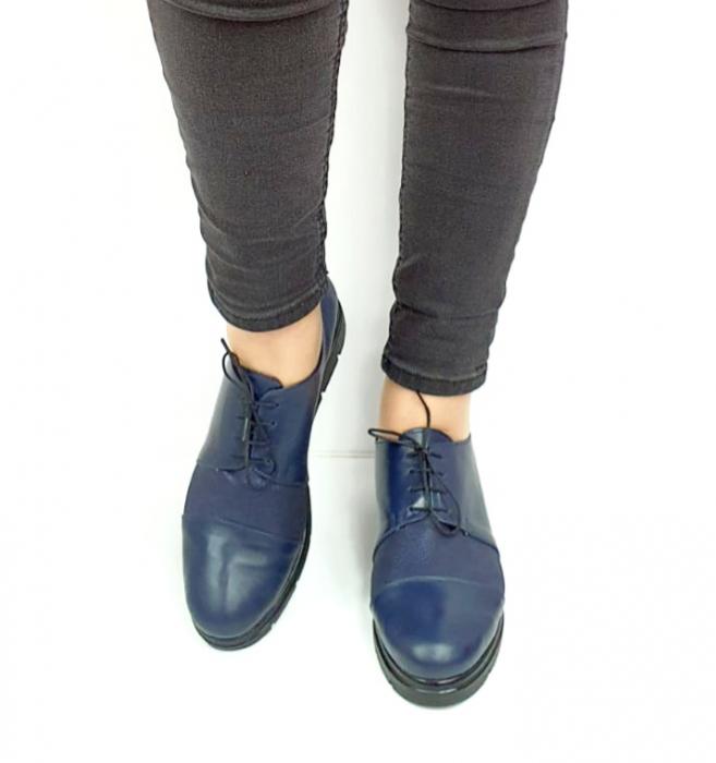 Pantofi Casual Piele Naturala Bleumarin Albertine D02731 [4]