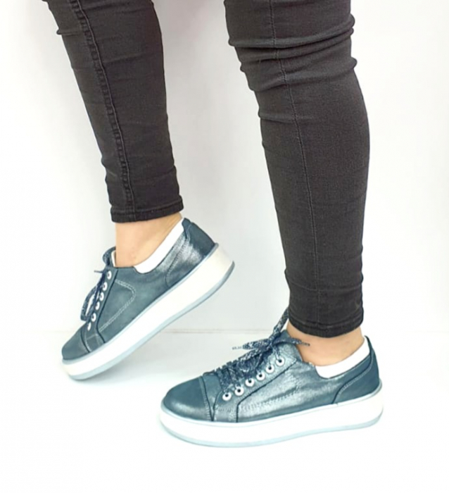 Pantofi Casual Piele Naturala Albastri Alexandrine D02733 [0]