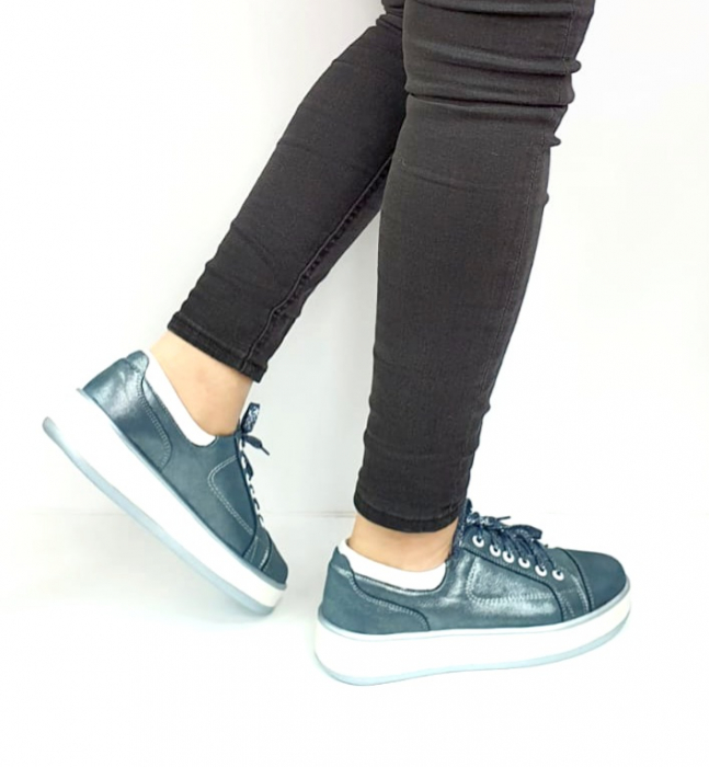 Pantofi Casual Piele Naturala Albastri Alexandrine D02733 [3]