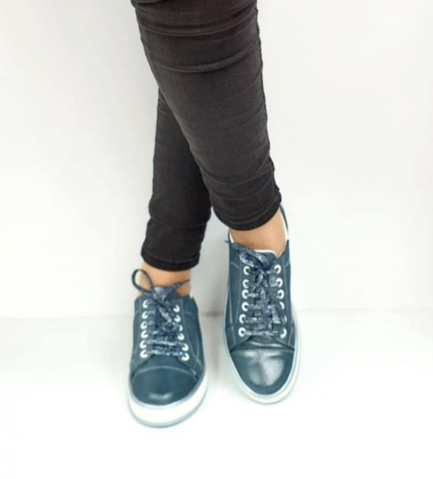 Pantofi Casual Piele Naturala Albastri Alexandrine D02733 [2]