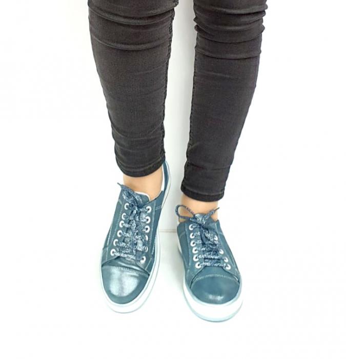 Pantofi Casual Piele Naturala Albastri Alexandrine D02733 [4]