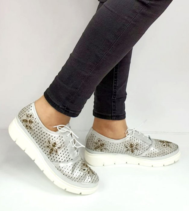 Pantofi Casual Piele Naturala Argintii Alison D02734 [0]