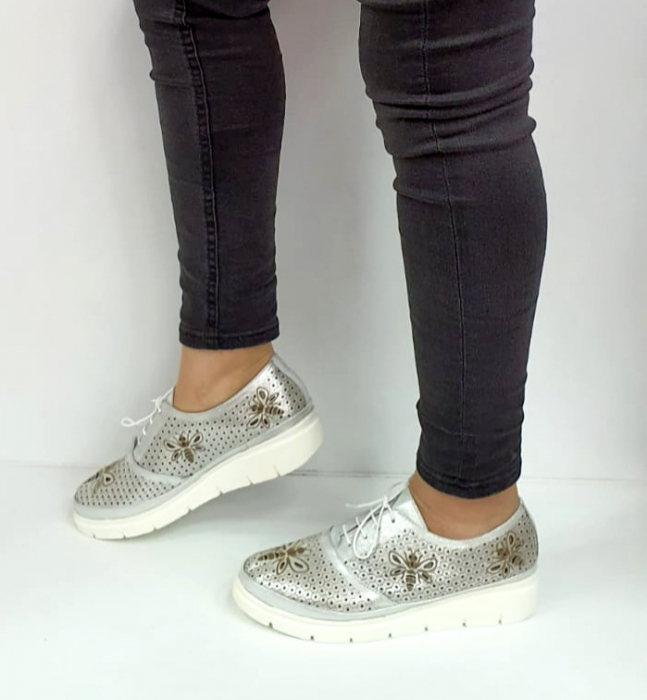 Pantofi Casual Piele Naturala Argintii Alison D02734 [1]