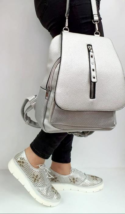 Pantofi Casual Piele Naturala Argintii Alison D02734 [5]