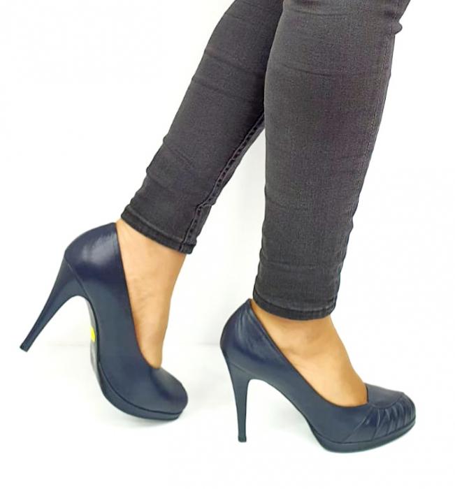 Pantofi cu toc Piele Naturala Bleumarin Guban Jesse D02735 [5]