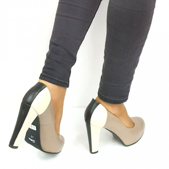 Pantofi cu toc Piele Naturala Grej Guban June D02736 [5]