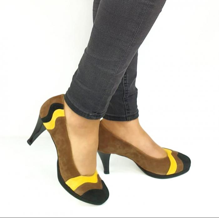 Pantofi cu toc Piele Naturala Negri Guban Edna D02737 [0]