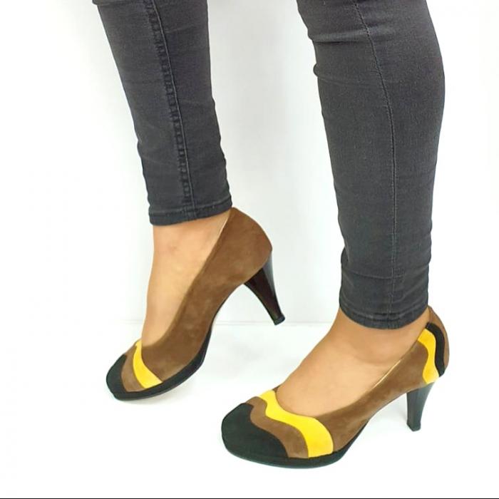 Pantofi cu toc Piele Naturala Negri Guban Edna D02737 [1]