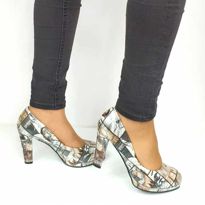 Pantofi cu toc Piele Naturala Multicolor Guban Esther D02738 [0]