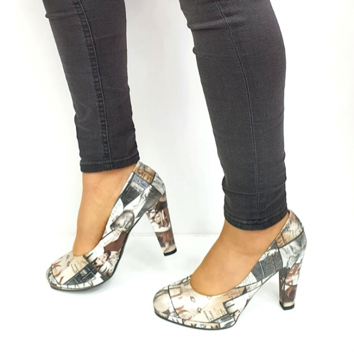 Pantofi cu toc Piele Naturala Multicolor Guban Esther D02738 [1]