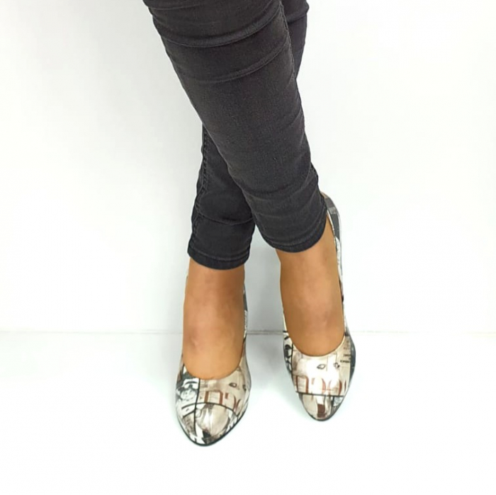Pantofi cu toc Piele Naturala Multicolor Guban Esther D02738 [3]