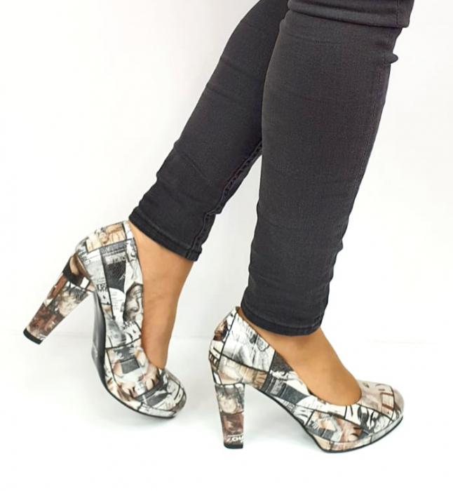 Pantofi cu toc Piele Naturala Multicolor Guban Esther D02738 [5]