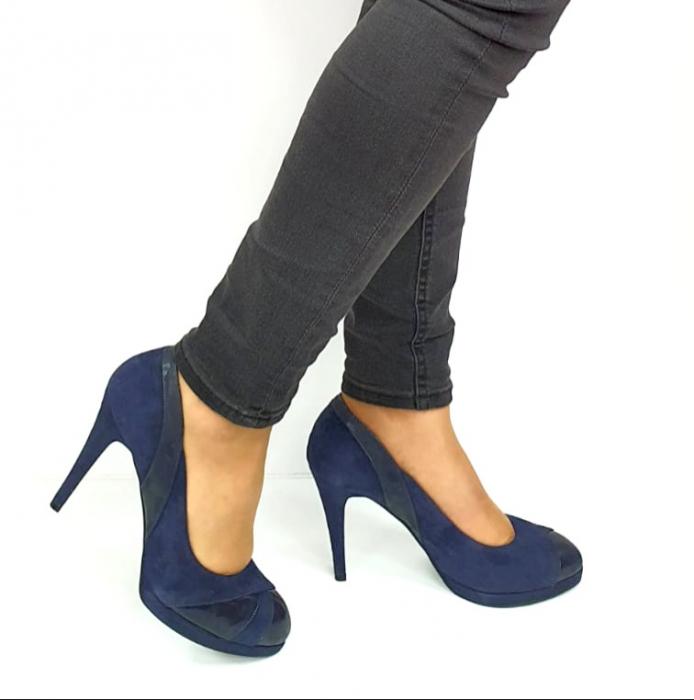 Pantofi cu toc Piele Naturala Bleumarin Guban Hulda D02739 [0]