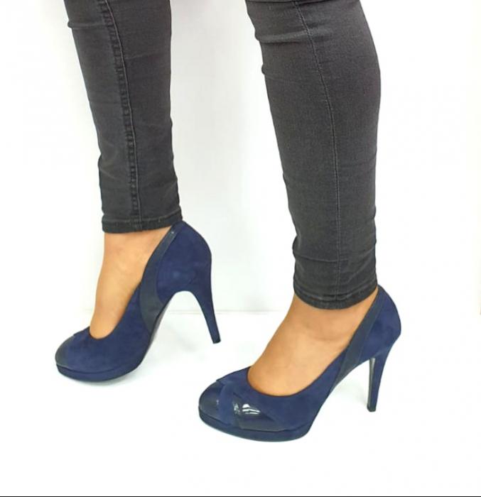 Pantofi cu toc Piele Naturala Bleumarin Guban Hulda D02739 [1]