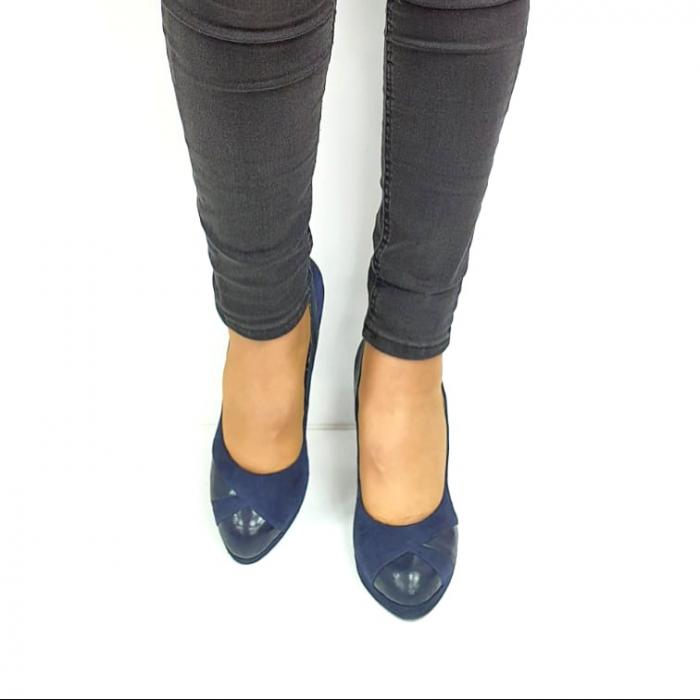 Pantofi cu toc Piele Naturala Bleumarin Guban Hulda D02739 [4]