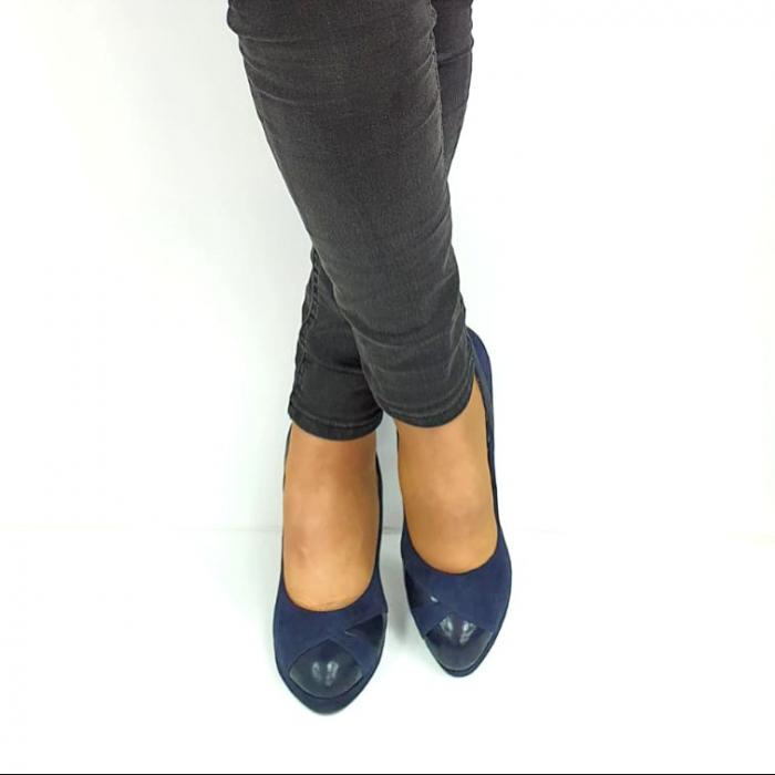 Pantofi cu toc Piele Naturala Bleumarin Guban Hulda D02739 [3]